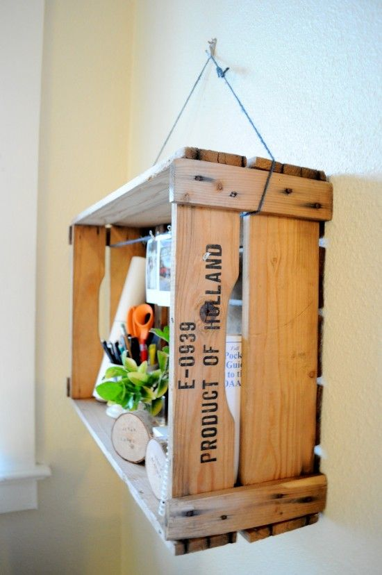 recycled shelf // I JUST MADE THIS yet vertical and i didn't even hang it by the marine rope i used, as it looked cute just sitting in the bathroom as an extra shelf.: Shelf Idea, Wine Crates, Crate Shelving, Crate Hanging, Wooden Crates, Box Shelves, Crate Ideas