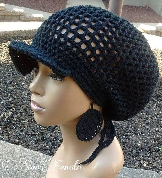 Fall Winter Black Crochet Knit Baggy Ball Cap Beanie Hat #CAP #Beanie
