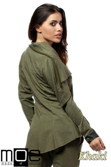 Żakiet z zapinanymi mankietami wykonanymi z eko-skóry. Produkt marki MOE.  #cudmoda #moda #styl #ubrania #odzież #clothes