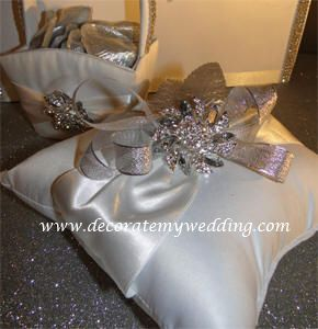 Wedding Decorations - Ring Pillow with Crystal Accents