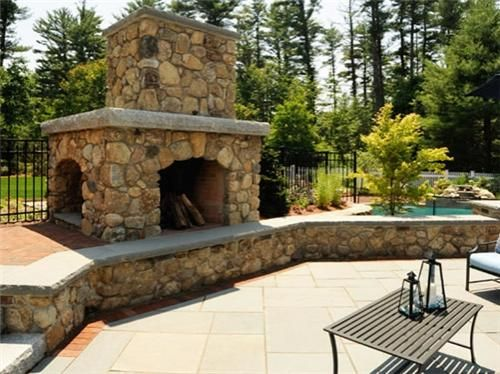 Outdoor Patio Fireplace, Outdoor Fireplaces, Landscape Inc, Georgetown Ma,  Hearth Mantle, Stone Hearth, Outdoor Stone, Hampshire, Mantles