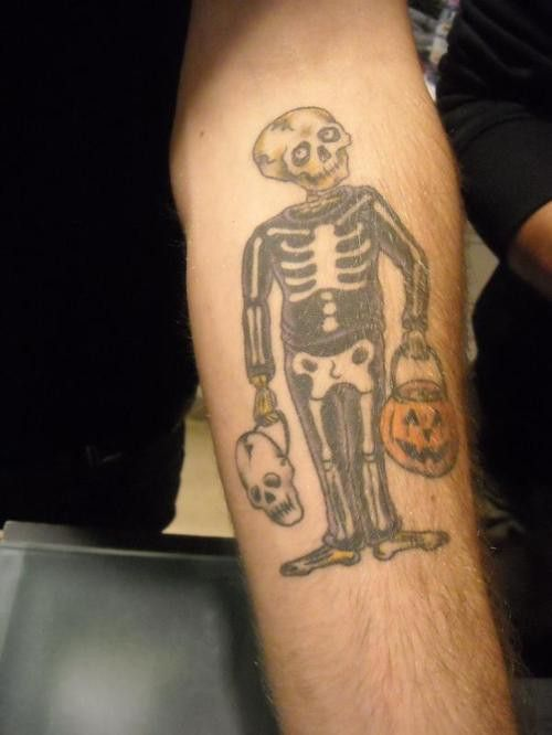 Alex gaskarth 39 s skeleton in a skeleton costume tattoo for All time low tattoo