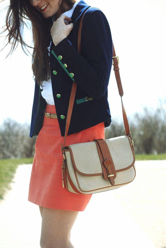 Ruffle Oxford: Ralph Lauren. Necklace: Pink Pineapple. Bracelets:  Vintage. Skirt: J. Crew Factory. Shoes: Calvin Klein. Bag: Dooney & Bourke.