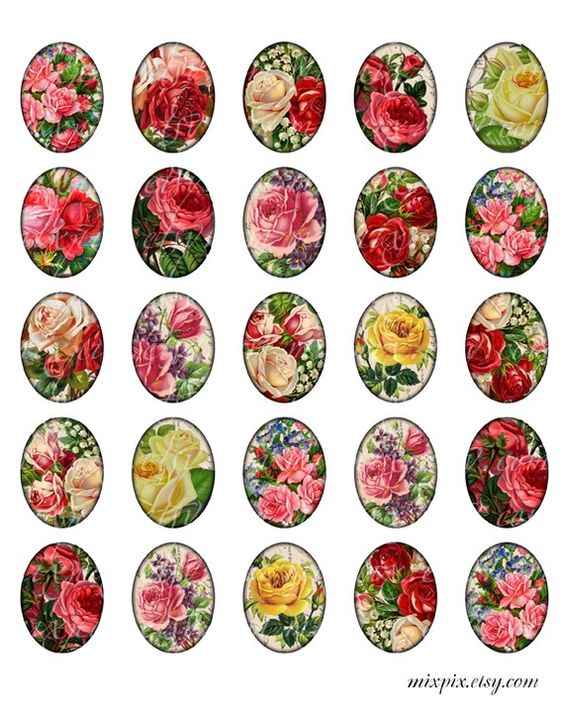 3 x 4 cm ovals printable download digital collage sheet vintage images roses pendant necklace charm no.223C