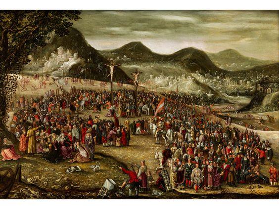DER KALVARIENBERG Öl auf Kupfer. 28 x 41 cm. In randbemaltem Rahmen mit kleinen Medaillondarstellungen von Heiligen Päpsten, Kirchenvätern und Evangelisten,...