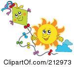 Royalty Free RF Clipart Illustration Of A Sun Flying A Happy Kite by visekart