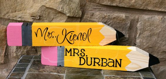 Wooden Pencil Desk Name Plate Personalized Great Teacher