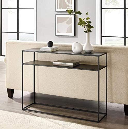 Narrow Wall Table Dr Console 42 Rectangular Black Modern Op Tables Living Room - Display Sofa Table