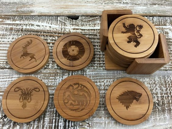 """House Sigil Wood Coasters 