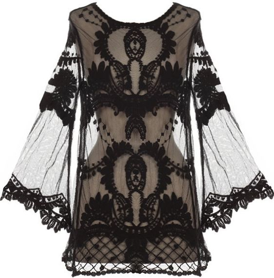 blackmetalnhate's save of Night Flight Top | Sheer Crochet Lace Kimono Tops | RicketyRack.com on Wanelo