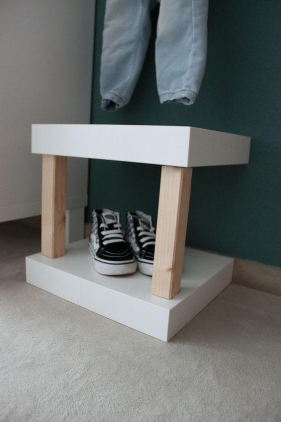 ikea hack kinderzimmer garderobe sitzbank schuhregal lack regal