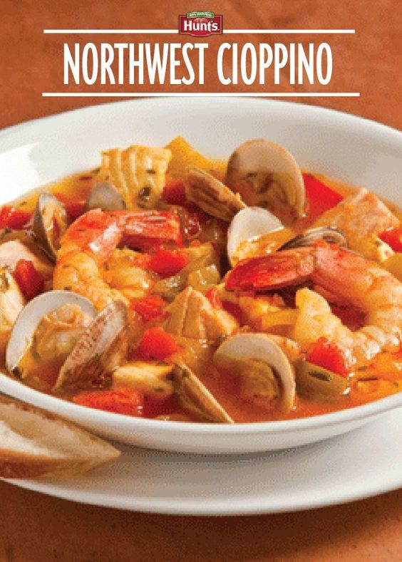 Cioppino - A tomato-based seafood stew made with crab, clams, halibut ...