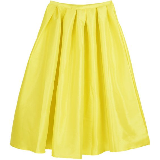 Choies Yellow Midi Skater Skirt (30 AUD) ❤ liked on Polyvore ...