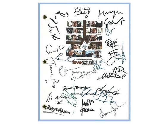 Love Actually Movie Script Signed Screenplay Autographed Alan Rickman, Hugh Grant, Emma Thompson, Colin Firth, Liam Neeson, Keira Knightley