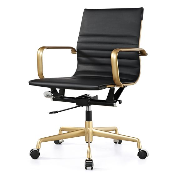This stylish office chair will keep you cool and productive throughout the day. It features an impressive goldtoned frame and comfortable black leather seat and back for a professional look and feel.