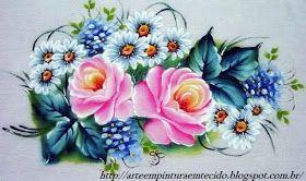 Pintura em Tecido rosas em pano de prato