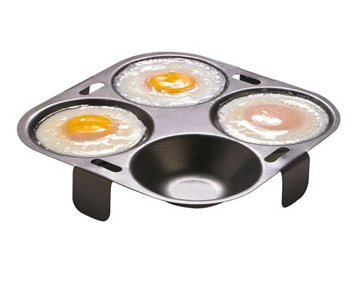 Egg Poaching Insert £8 Ideal for poaching your eggs to perfection. Non of the mess and fuss of the hard way of Poaching and egg and perfect results every time. Non-stick for easy cleaning. Size H2.7 x diam. 16cm.