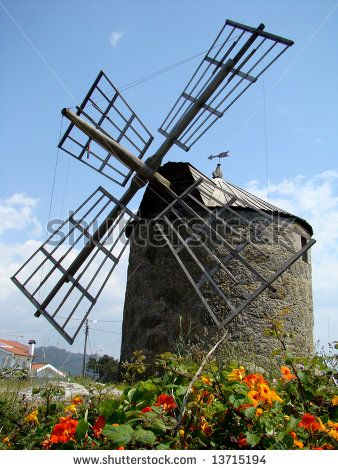 Old windmill in Montedor near Viana do Castelo, Portugal