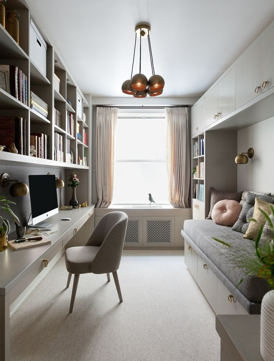 mercer INTERIOR was asked to create a functional home office for a busy professional client. She also requested a cozy space for napping or curling up with a good book. She needs lots and lots of storage for client binders and files as well. Photography by Emily Gilbert
