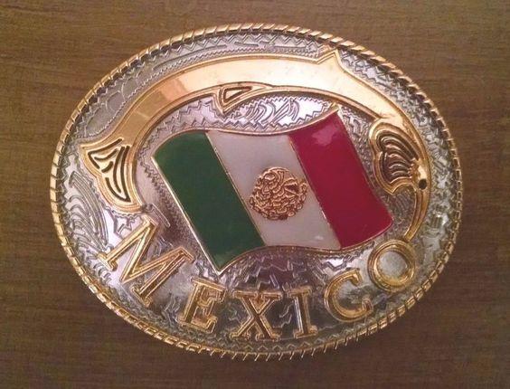 Mexico Flag Belt Buckle