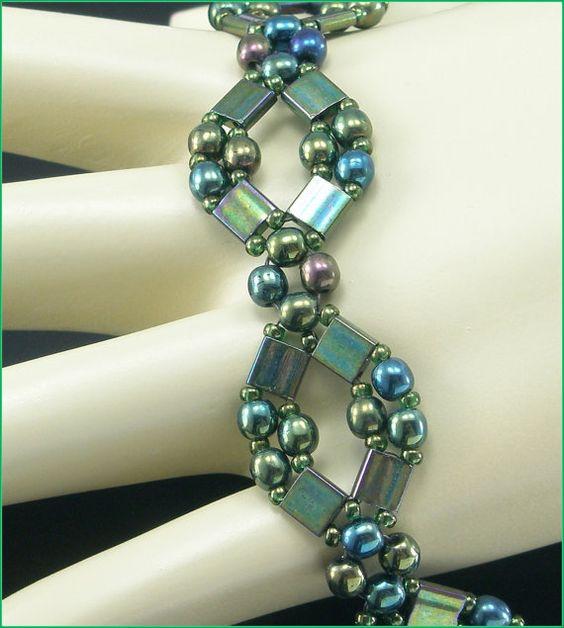 "05-389  Iris Seed Bead, Green Iris Druk and, Green Iris Tila Bead Bracelet along with a Box Clasp. ""FREE SHIPPING"""