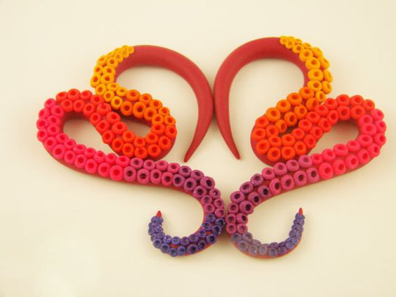 HOT Octopus Tentacle Gauges  6G to 0G size by HipsterOctopus, $35.00