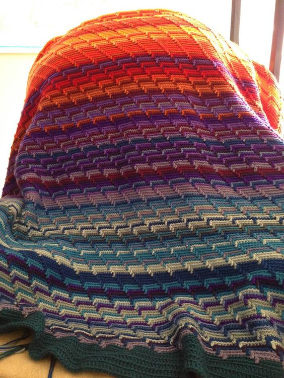 Temperature Afghan Knitting Pattern : apache tears stitch temperature blanket Crochet Temperature Blanket Pinte...