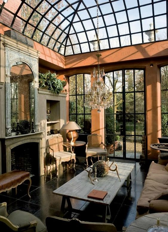 Beautiful the roof and the chandelier on pinterest for Glass rooms conservatories