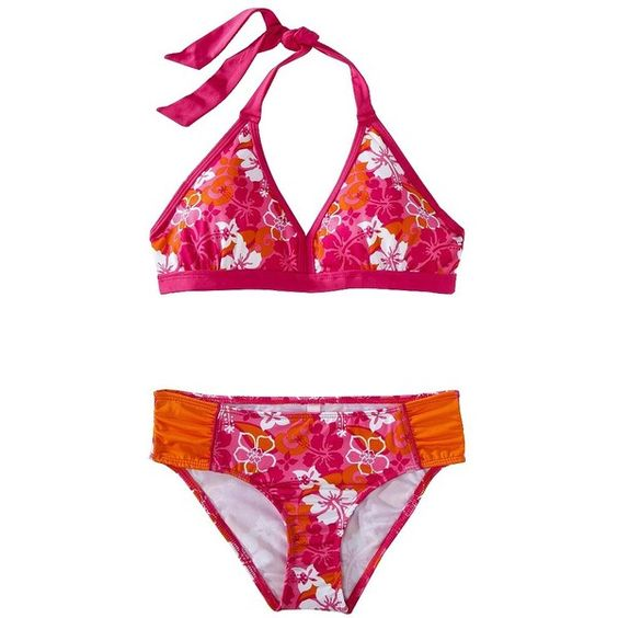 Pink Platinum Girls' Halter Floral Bikini (4.900 CLP) ❤ liked on Polyvore featuring swimsuites and swimwear