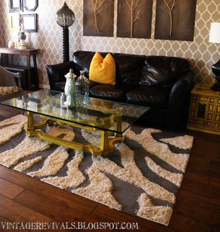 Diy zebra rug so love this i am doing one for my for Living room ideas with zebra rug