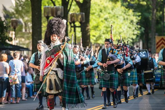 The City of Greenville Pipes & Drums in the 2015 Great Scot Parade on Main Street in downtown Greenville, SC.  #gallabrae