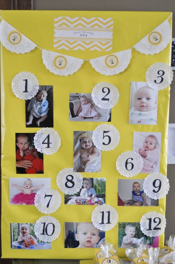 Para un impactante decorado para una fiesta primer cumpleaños, decora con un póster de fotos del cumpleañero o la cumpleañera cada mes de su primer año / For a lovely decoration for the first birthday party, create a poster with photos of the birthday girl or boy taken each month of his or her first year!