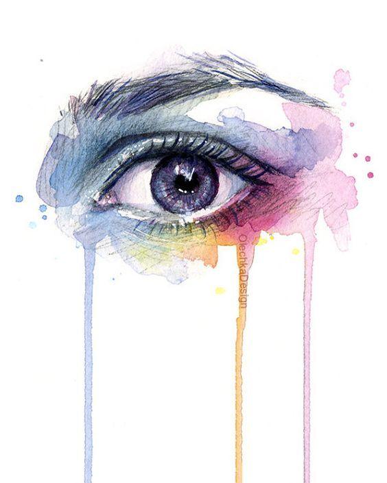 Beautiful Eye Dripping Rainbow Watercolor Art Print Surreal Eye