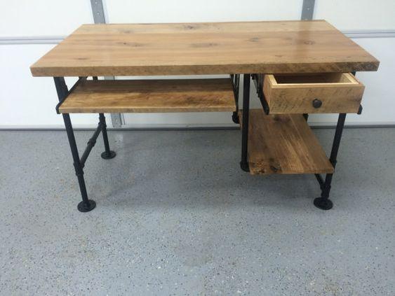 Computer desk reclaimed wood desk rustic barnwood table for Iron pipe desk