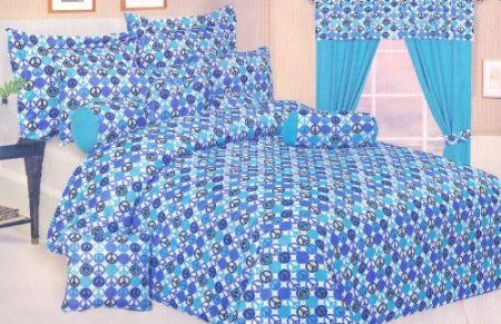 Peace sign aqua/black/blue comforter & shams $49.99
