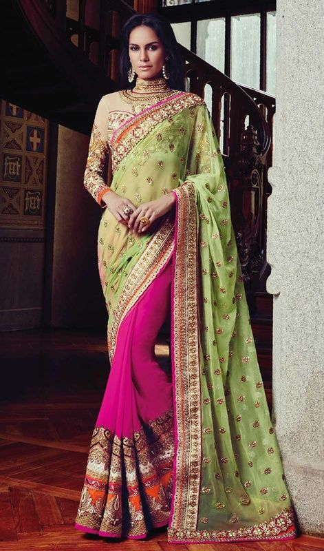 Re ameliorate your beauty dressed in this pink and green color georgette chiffon net half n half sari. The fantastic saree creates a dramatic canvas with terrific lace, stones, sequins and resham work. #reshambuttiworksaris #chiffonhalfnhalfsari #designersarees2015