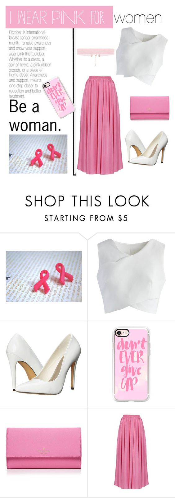 """""""Wear Pink This October"""" by cara-walker ❤ liked on Polyvore featuring Chicwish, Michael Antonio, Casetify, Kate Spade, breastcancerawareness, wearpink, IWearPinkFor, octoberisbreastcancerawarenessmonth and IWearPinkForallwomen"""