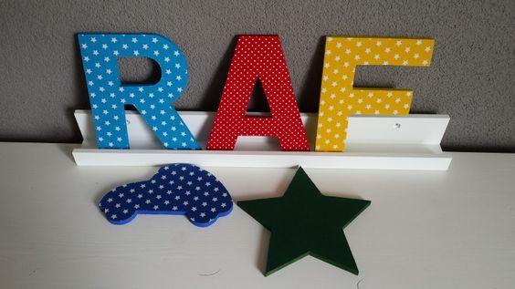 Houten letters 20cm Raf   Auto en grote ster