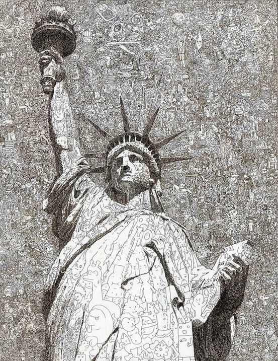 Statue of Lady Liberty, drawn of many doodles.