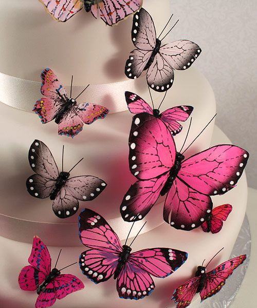 Pink Butterfly Cake Toppers