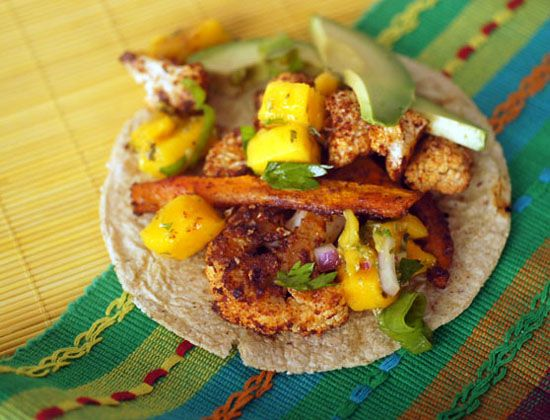 Chipotle Cauliflower Tacos with Mango Lime Salsa. - skip oil