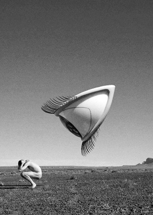 A monochrome image of graphic designer Storm Thorgerson's piece featured on The Cranberries album, 'Bury The Hatchet.'