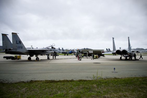 Royal Norwegian Air Force members refuel two 493rd Fighter Squadron F-15 C Eagles during training exercise Arctic Fighter Meet 2016, Bodø Main Air Station, Norway, May 25, 2016. This training exercise allowed forward-based U.S. Airmen and aircraft from RAF Lakenheath to train with NATO Allies and European partners, building on skill sets and improving every nation's ability to seamlessly work together. (U.S. Air Force photo/Senior Airman Erin Babis)