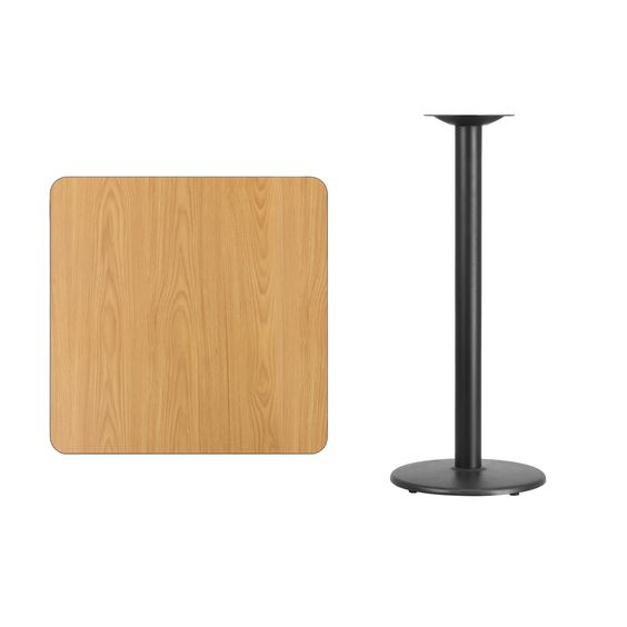 Flash Furniture 30'' Square Natural Laminate Table Top with 18'' Round Bar Height Table Base [XU-NATTB-3030-TR18B-GG]