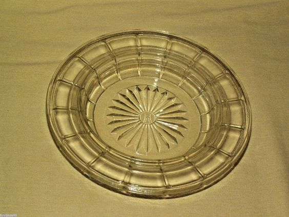 Hazel Atlas Ashtray Butter Cheese Clear Glass Round Star Grid Pattern Vintage