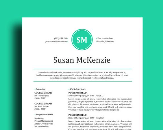 2 Page Resume Template + Cover Letter