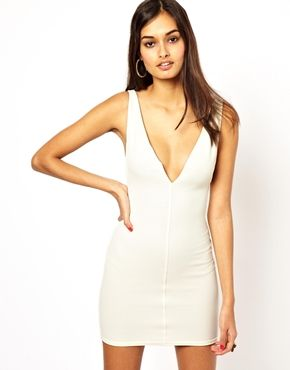 Oh My Love Plunge Neck Body-Conscious Dress: