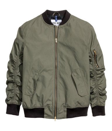 Pilot jacket in woven cotton fabric. Ribbed stand-up collar ...