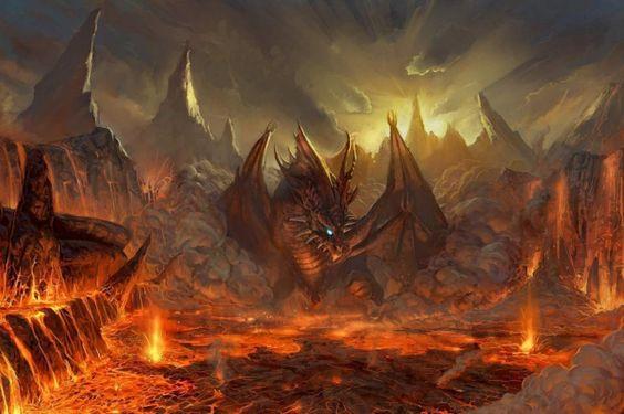 Flügel, Drachen, Lava, Fantasy Art, Kunst wallpapers