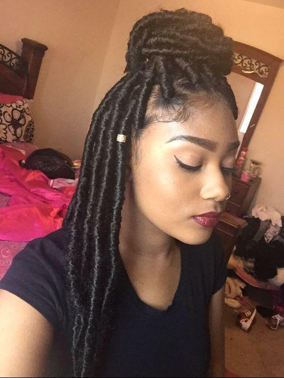 Marley Locs With Small Bun Top Of Head Marley Hair Hair Styles Box Braids Hairstyles